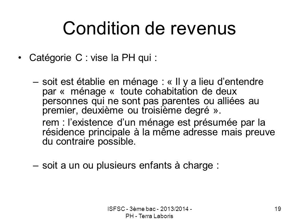 ISFSC - 3ème bac - 2013/2014 - PH - Terra Laboris 19 Condition de revenus Catégorie C : vise la PH qui : –soit est établie en ménage : « Il y a lieu d