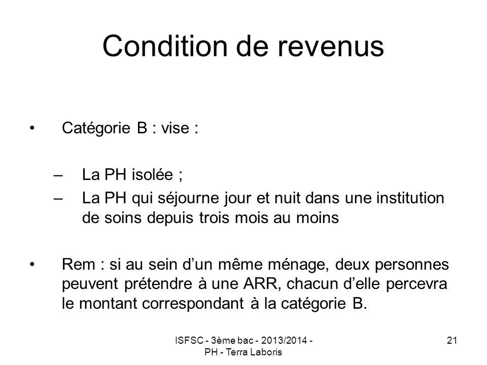 ISFSC - 3ème bac - 2013/2014 - PH - Terra Laboris 21 Condition de revenus Catégorie B : vise : –La PH isolée ; –La PH qui séjourne jour et nuit dans u