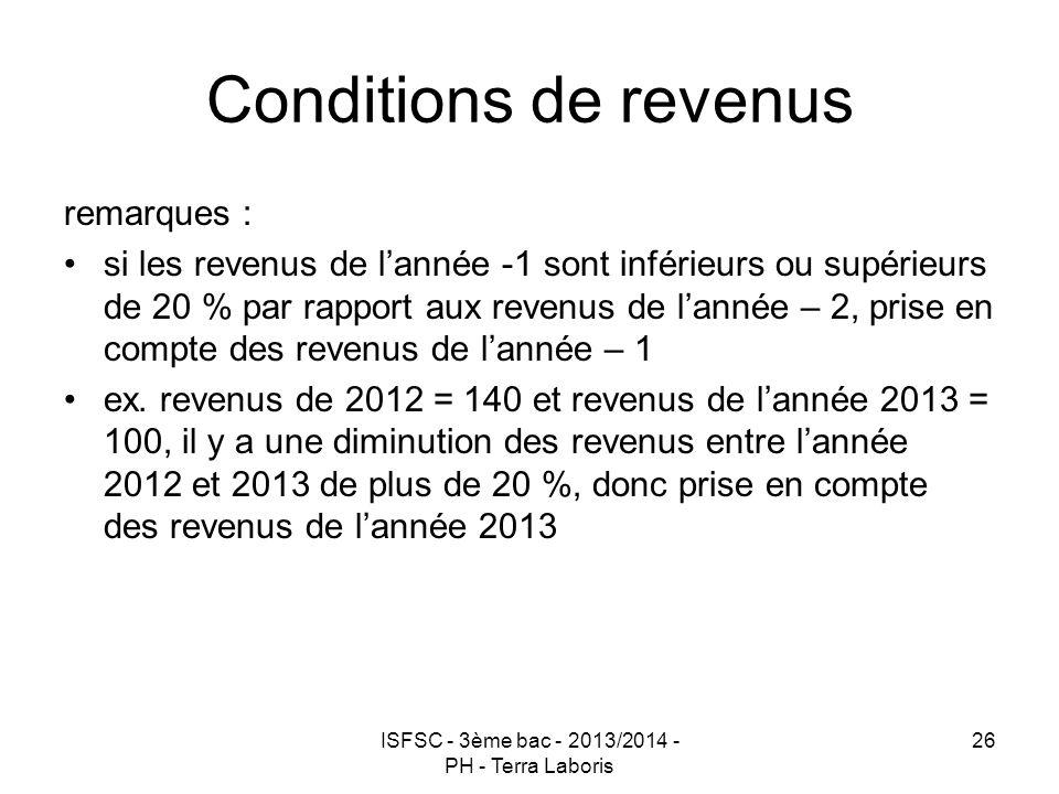 ISFSC - 3ème bac - 2013/2014 - PH - Terra Laboris 26 Conditions de revenus remarques : si les revenus de l'année -1 sont inférieurs ou supérieurs de 2