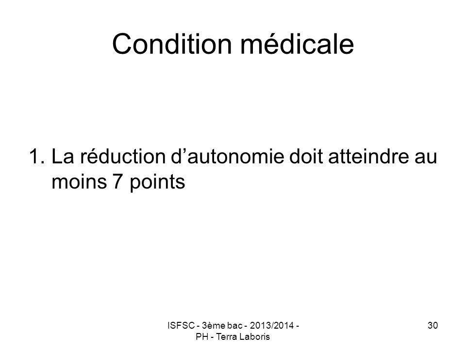 ISFSC - 3ème bac - 2013/2014 - PH - Terra Laboris 30 Condition médicale 1.La réduction d'autonomie doit atteindre au moins 7 points