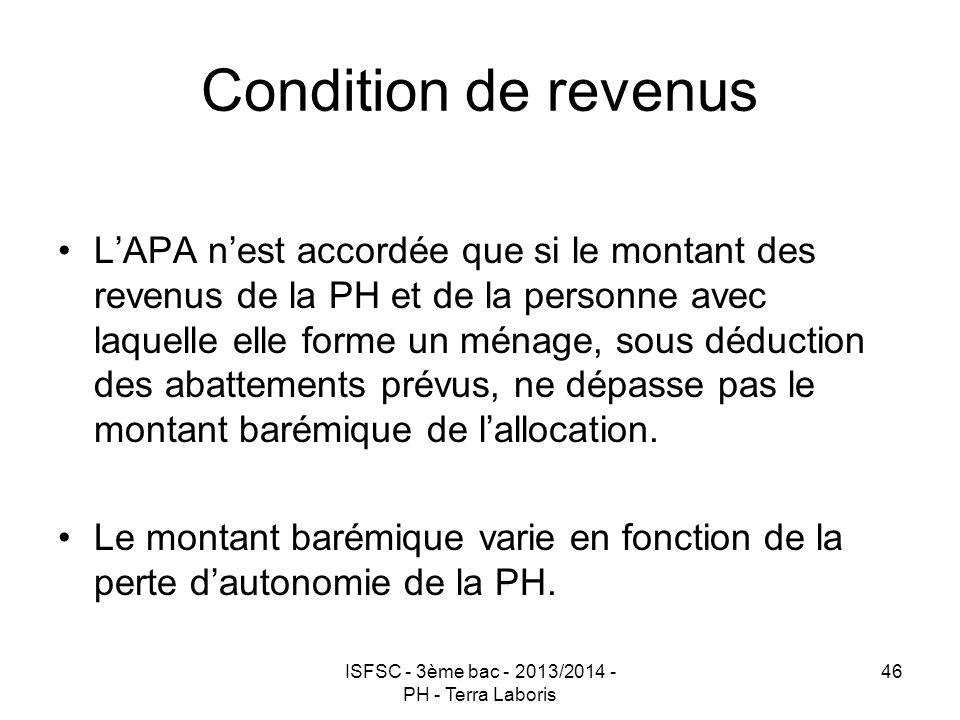 ISFSC - 3ème bac - 2013/2014 - PH - Terra Laboris 46 Condition de revenus L'APA n'est accordée que si le montant des revenus de la PH et de la personn