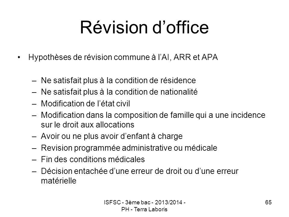 ISFSC - 3ème bac - 2013/2014 - PH - Terra Laboris 65 Révision d'office Hypothèses de révision commune à l'AI, ARR et APA –Ne satisfait plus à la condi