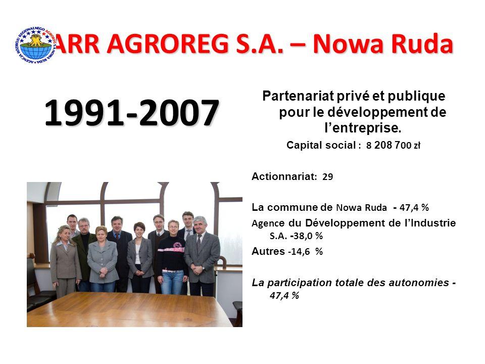 ARR AGROREG S.A. – Nowa Ruda ARR AGROREG S.A. – Nowa Ruda 1991-2007 Partenariat privé et publique pour le développement de l'entreprise. Capital socia