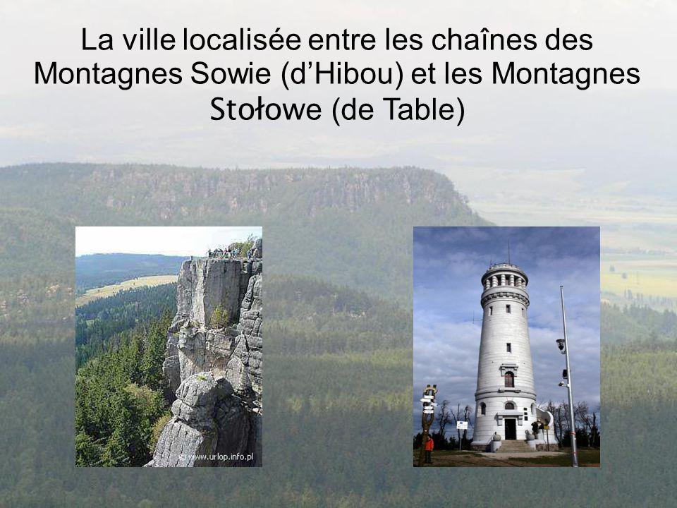 La ville localisée entre les chaînes des Montagnes Sowie (d'Hibou) et les Montagnes Stołow e (de Table)
