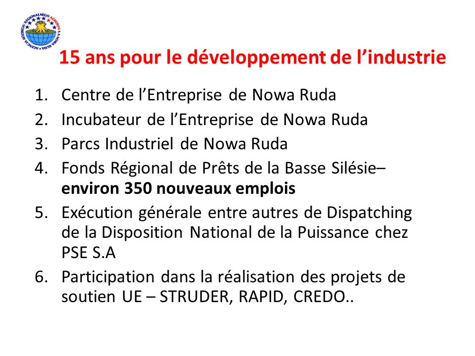 15 ans pour le développement de l'industrie 1.Centre de l'Entreprise de Nowa Ruda 2.Incubateur de l'Entreprise de Nowa Ruda 3.Parcs Industriel de Nowa