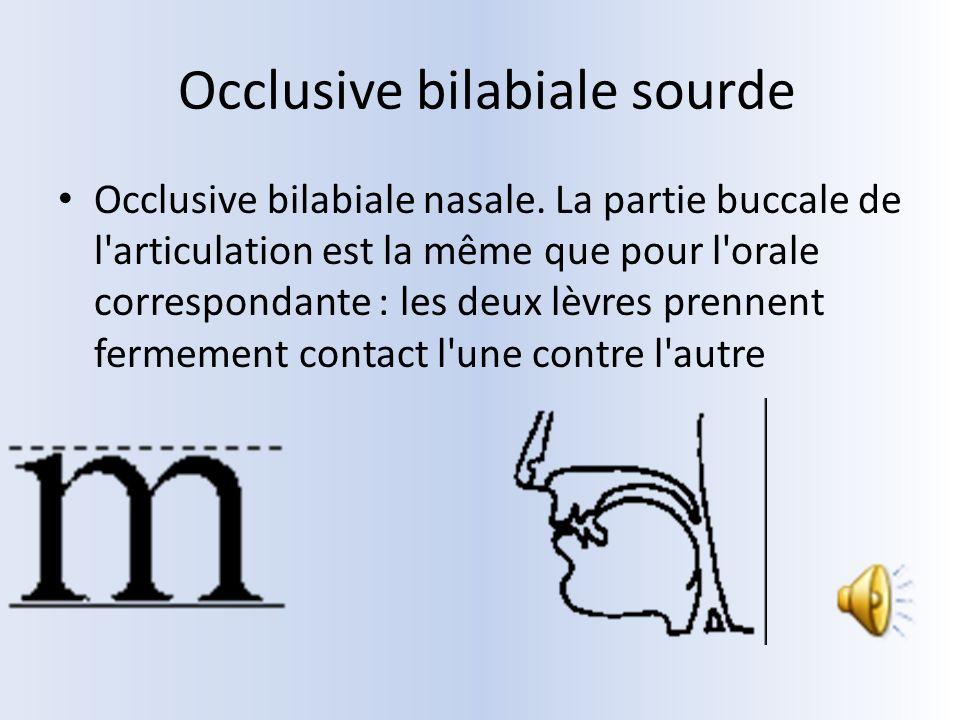 Occlusive bilabiale sourde Occlusive bilabiale nasale. La partie buccale de l'articulation est la même que pour l'orale correspondante : les deux lèvr
