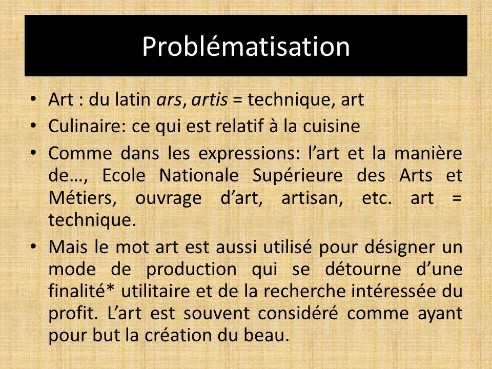 Problématisation Art : du latin ars, artis = technique, art Culinaire: ce qui est relatif à la cuisine Comme dans les expressions: l'art et la manière