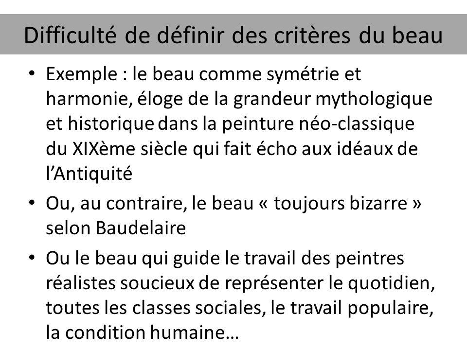 Difficulté de définir des critères du beau Exemple : le beau comme symétrie et harmonie, éloge de la grandeur mythologique et historique dans la peint