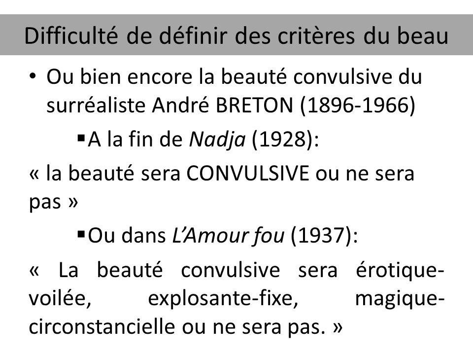 Difficulté de définir des critères du beau Ou bien encore la beauté convulsive du surréaliste André BRETON (1896-1966)  A la fin de Nadja (1928): « l