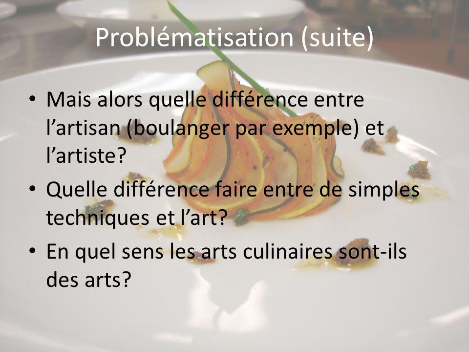 Problématisation (suite) Mais alors quelle différence entre l'artisan (boulanger par exemple) et l'artiste? Quelle différence faire entre de simples t