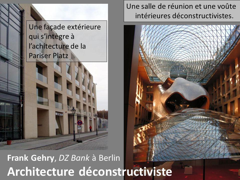 Frank Gehry, DZ Bank à Berlin Architecture déconstructiviste Une façade extérieure qui s'intègre à l'achitecture de la Pariser Platz Une salle de réun