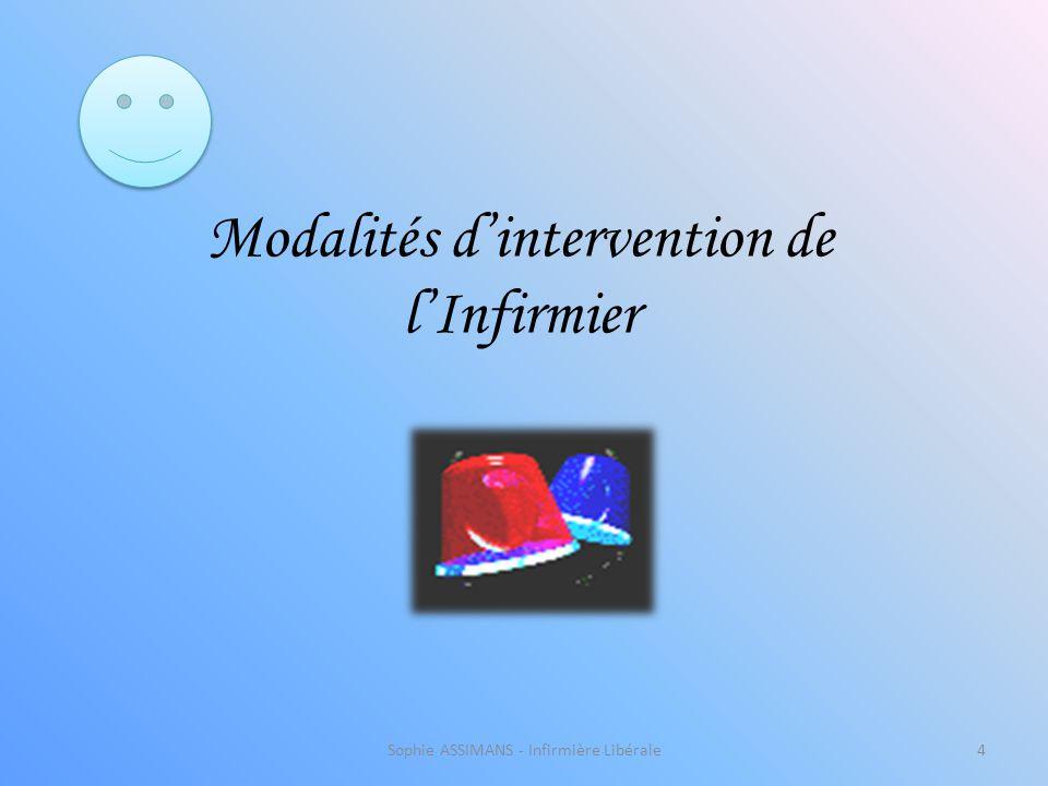 Sophie ASSIMANS - Infirmière Libérale4 Modalités d'intervention de l'Infirmier