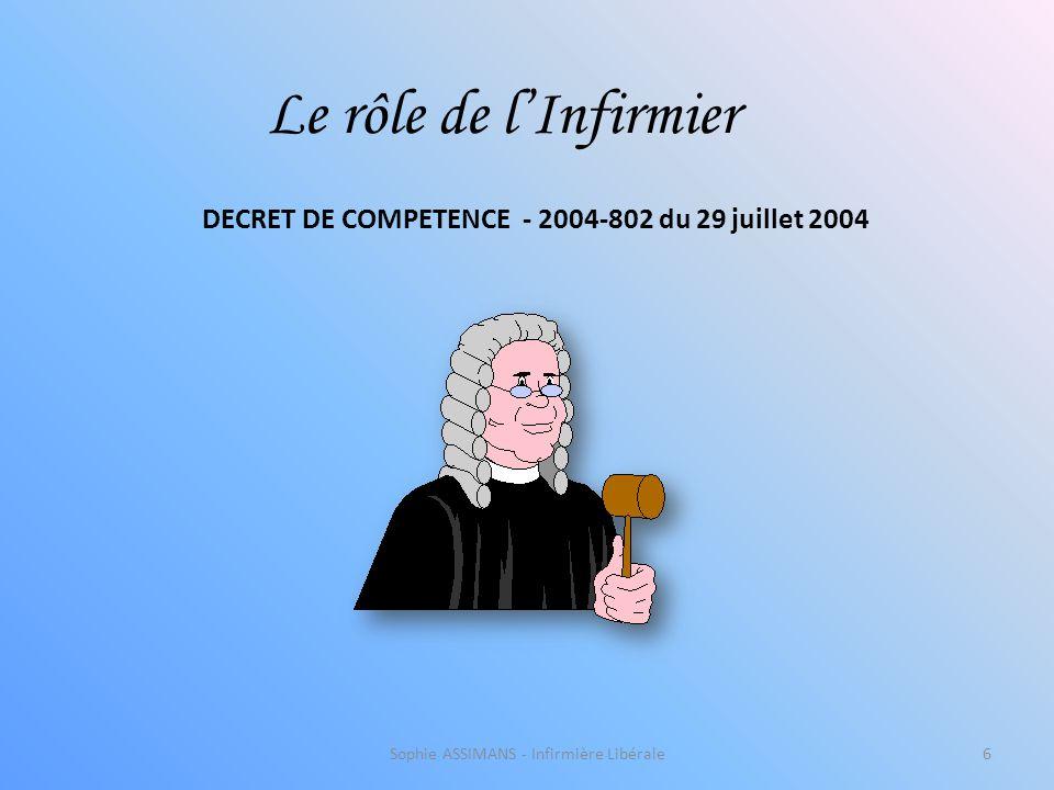 Sophie ASSIMANS - Infirmière Libérale6 Le rôle de l'Infirmier DECRET DE COMPETENCE - 2004-802 du 29 juillet 2004