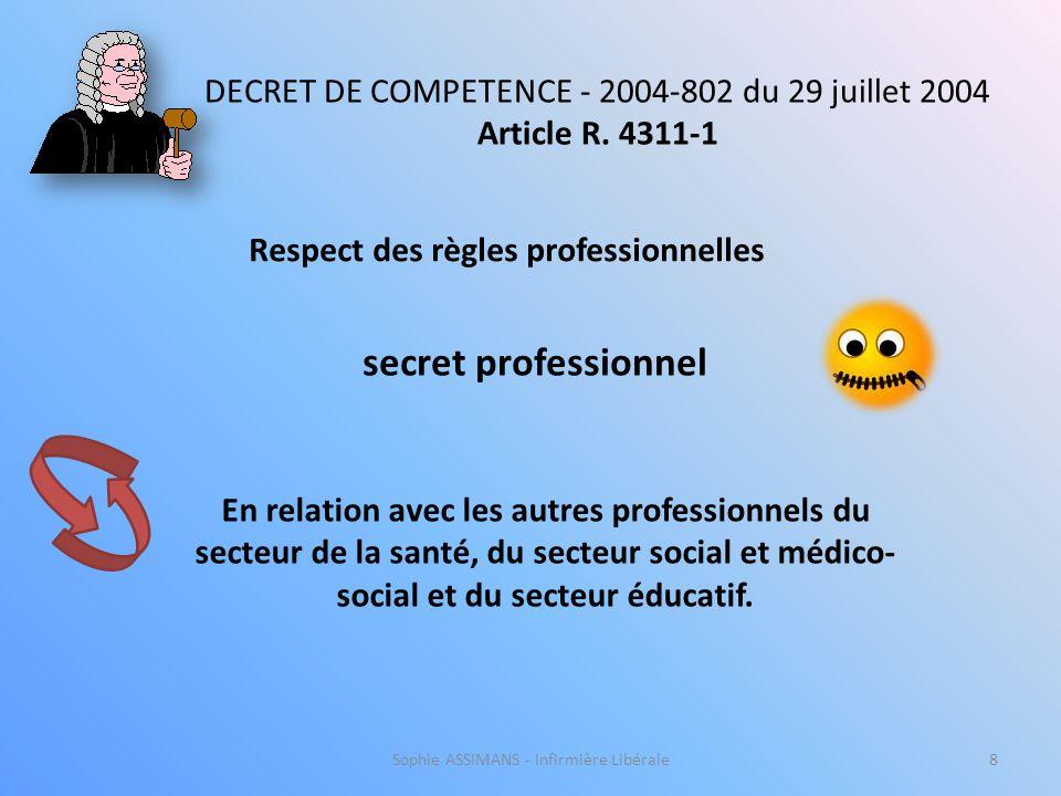 Sophie ASSIMANS - Infirmière Libérale8 Respect des règles professionnelles DECRET DE COMPETENCE - 2004-802 du 29 juillet 2004 Article R.