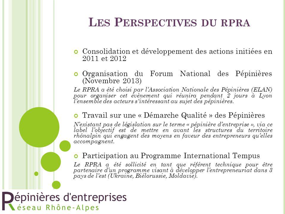 L ES P ERSPECTIVES DU RPRA Consolidation et développement des actions initiées en 2011 et 2012 Organisation du Forum National des Pépinières (Novembre