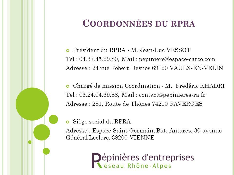 C OORDONNÉES DU RPRA Président du RPRA - M. Jean-Luc VESSOT Tel : 04.37.45.29.80, Mail : pepiniere@espace-carco.com Adresse : 24 rue Robert Desnos 691