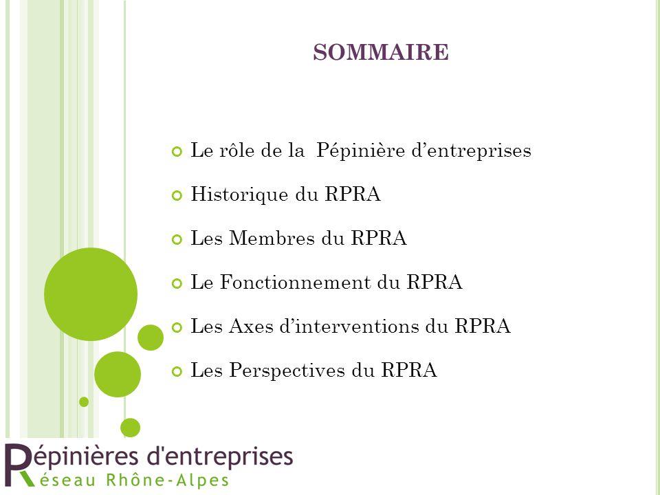 SOMMAIRE Le rôle de la Pépinière d'entreprises Historique du RPRA Les Membres du RPRA Le Fonctionnement du RPRA Les Axes d'interventions du RPRA Les P