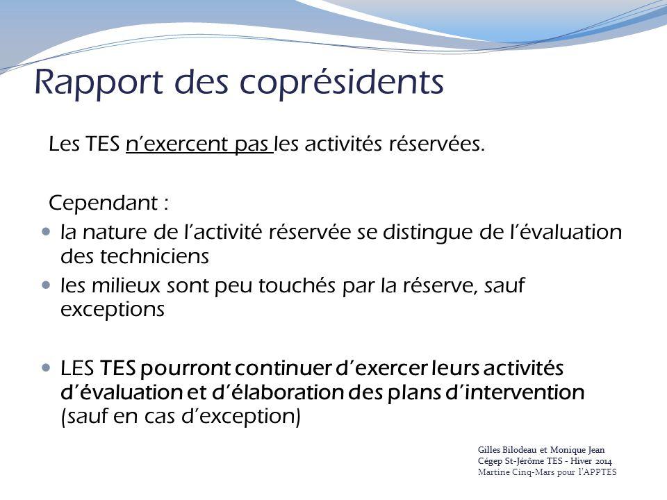 Rapport des coprésidents Les TES n'exercent pas les activités réservées. Cependant : la nature de l'activité réservée se distingue de l'évaluation des
