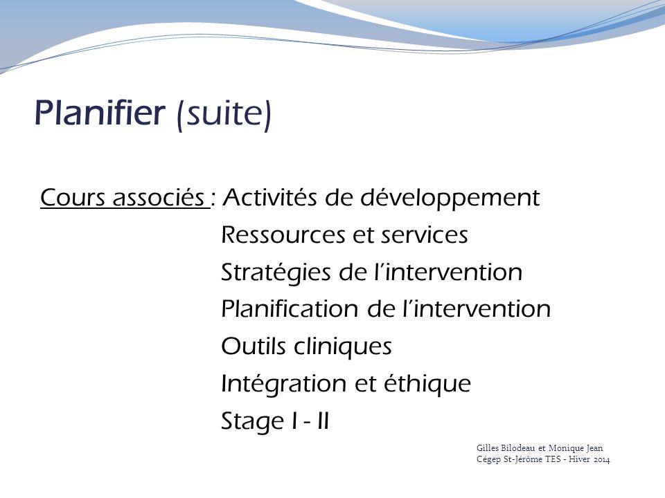 Planifier (suite) Cours associés : Activités de développement Ressources et services Stratégies de l'intervention Planification de l'intervention Outi