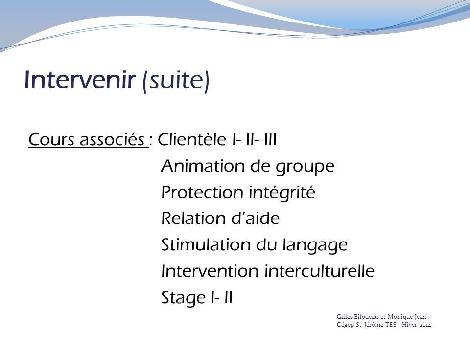 Intervenir (suite) Cours associés : Clientèle I- II- III Animation de groupe Protection intégrité Relation d'aide Stimulation du langage Intervention