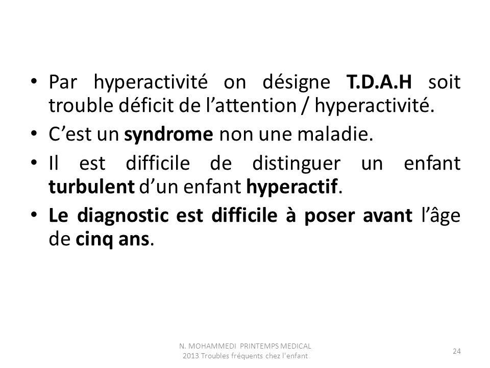 Par hyperactivité on désigne T.D.A.H soit trouble déficit de l'attention / hyperactivité. C'est un syndrome non une maladie. Il est difficile de disti
