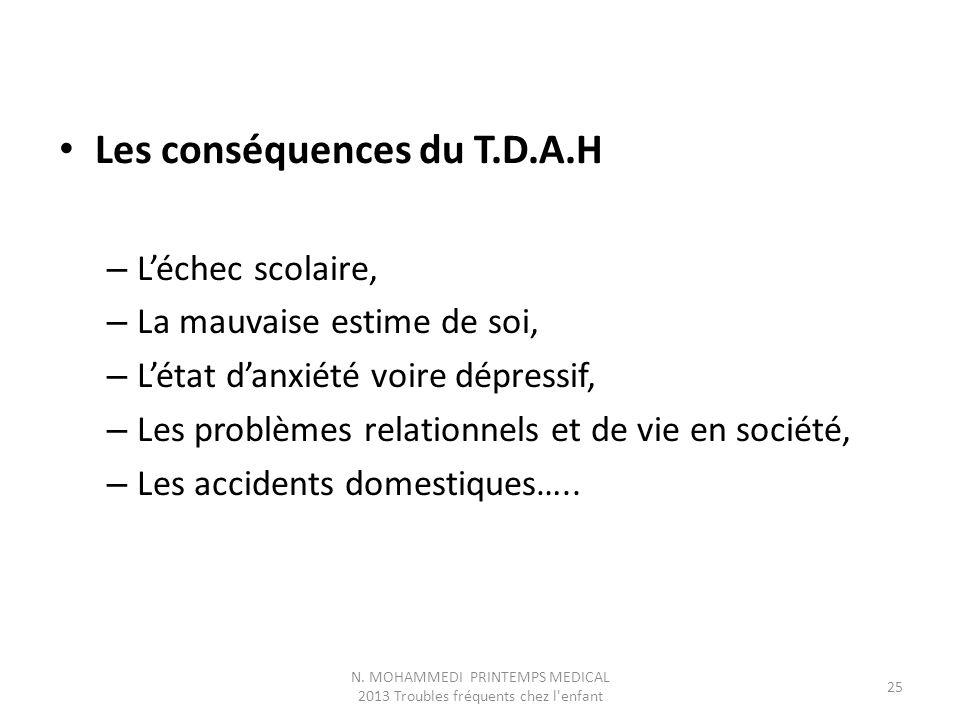 Les conséquences du T.D.A.H – L'échec scolaire, – La mauvaise estime de soi, – L'état d'anxiété voire dépressif, – Les problèmes relationnels et de vie en société, – Les accidents domestiques…..
