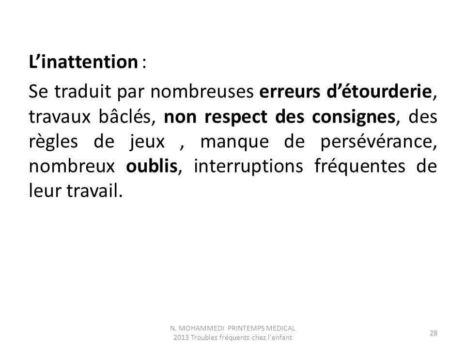 L'inattention : Se traduit par nombreuses erreurs d'étourderie, travaux bâclés, non respect des consignes, des règles de jeux, manque de persévérance,