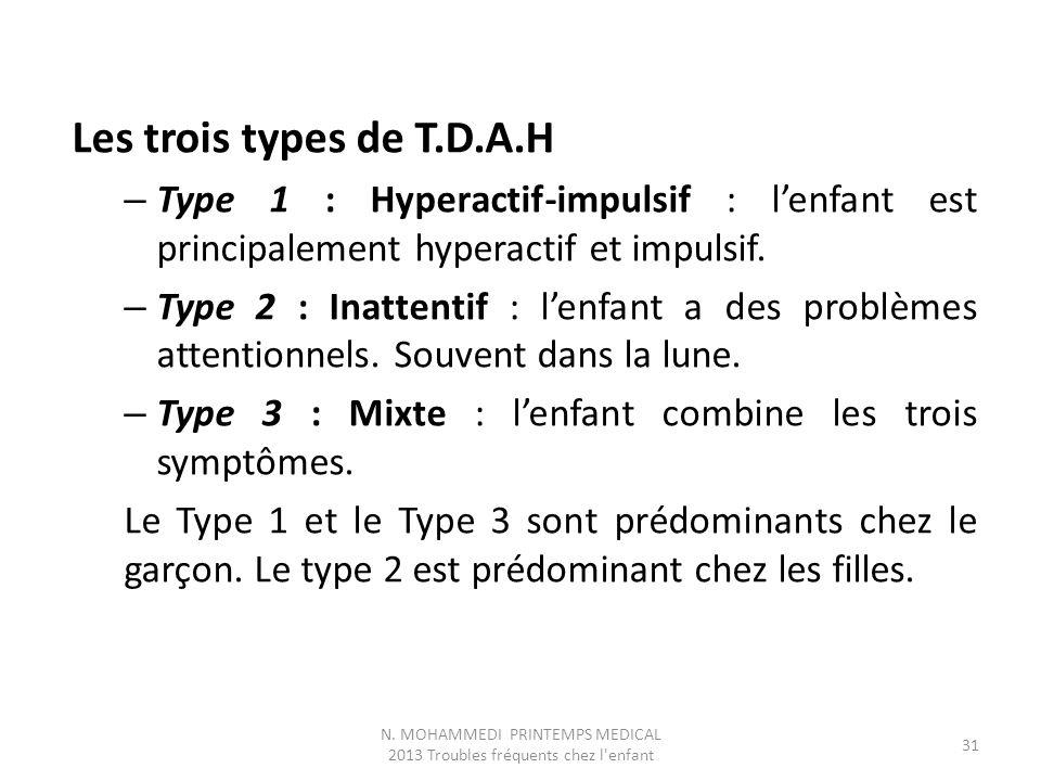 Les trois types de T.D.A.H – Type 1 : Hyperactif-impulsif : l'enfant est principalement hyperactif et impulsif. – Type 2 : Inattentif : l'enfant a des