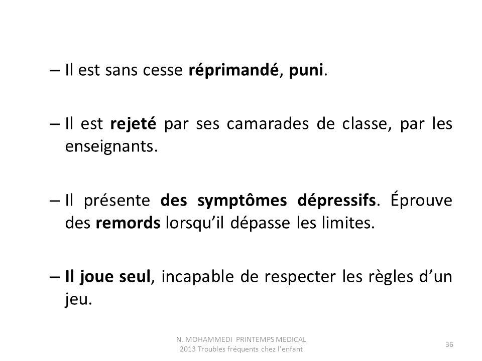 – Il est sans cesse réprimandé, puni. – Il est rejeté par ses camarades de classe, par les enseignants. – Il présente des symptômes dépressifs. Éprouv