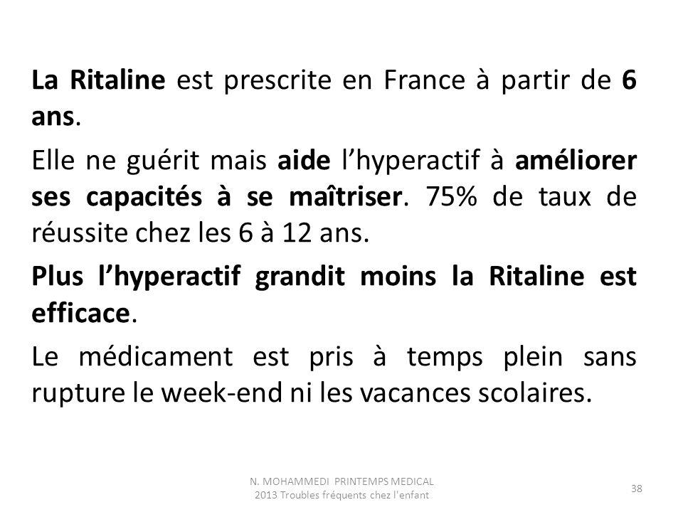 La Ritaline est prescrite en France à partir de 6 ans. Elle ne guérit mais aide l'hyperactif à améliorer ses capacités à se maîtriser. 75% de taux de