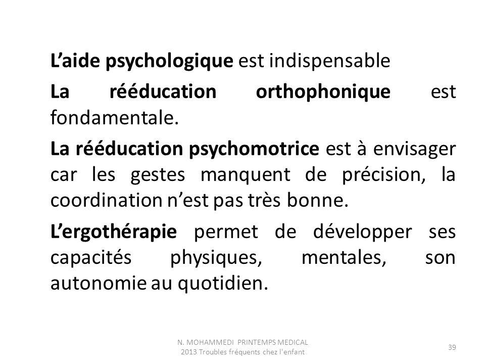 L'aide psychologique est indispensable La rééducation orthophonique est fondamentale. La rééducation psychomotrice est à envisager car les gestes manq
