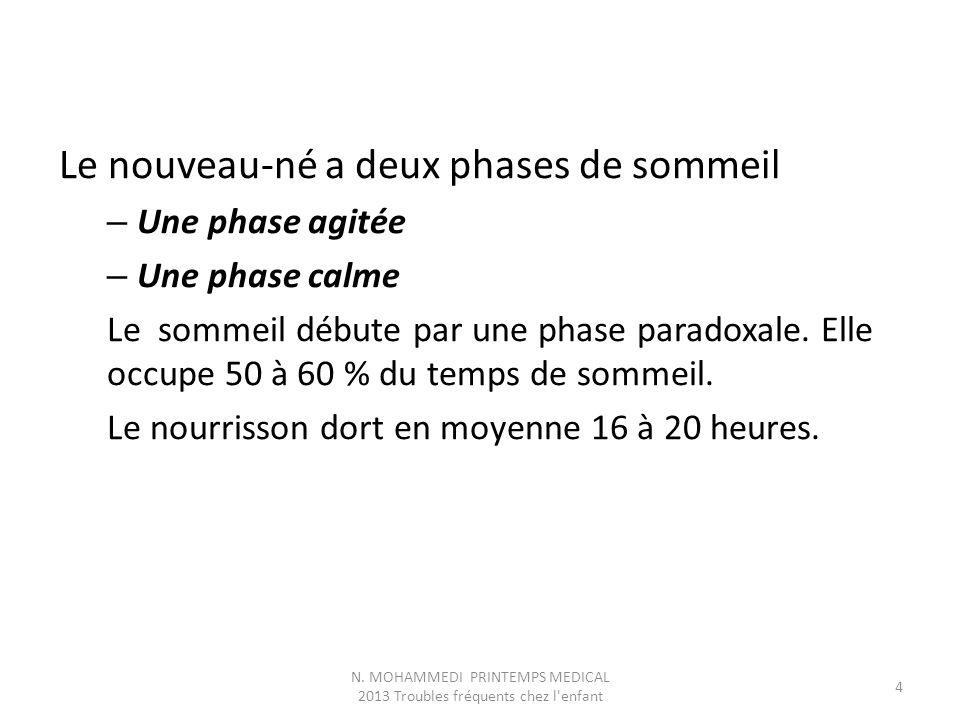 Le nouveau-né a deux phases de sommeil – Une phase agitée – Une phase calme Le sommeil débute par une phase paradoxale. Elle occupe 50 à 60 % du temps