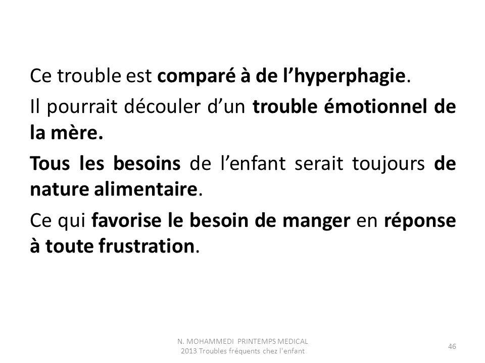 Ce trouble est comparé à de l'hyperphagie. Il pourrait découler d'un trouble émotionnel de la mère. Tous les besoins de l'enfant serait toujours de na