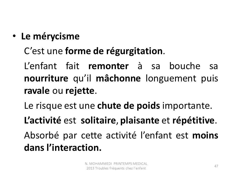 Le mérycisme C'est une forme de régurgitation.