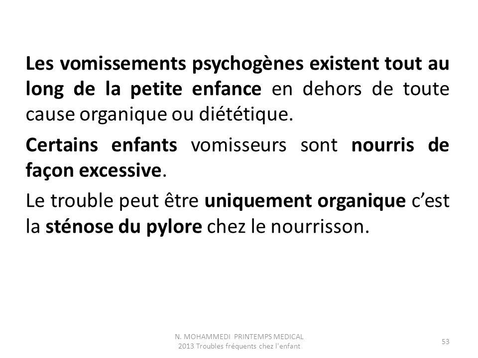 Les vomissements psychogènes existent tout au long de la petite enfance en dehors de toute cause organique ou diététique. Certains enfants vomisseurs