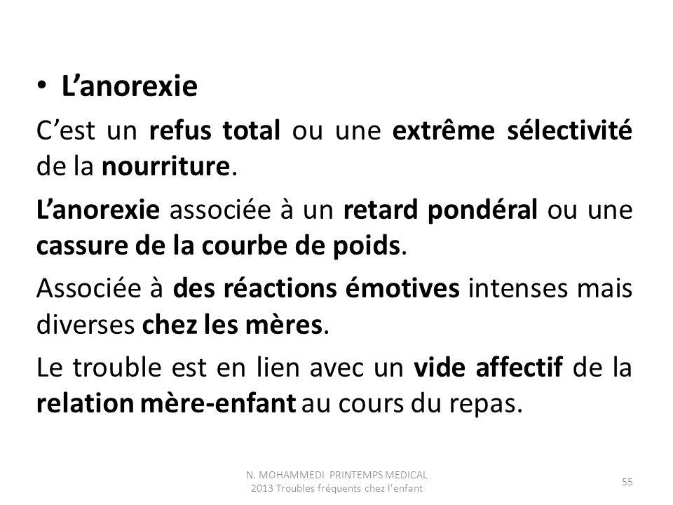 L'anorexie C'est un refus total ou une extrême sélectivité de la nourriture. L'anorexie associée à un retard pondéral ou une cassure de la courbe de p