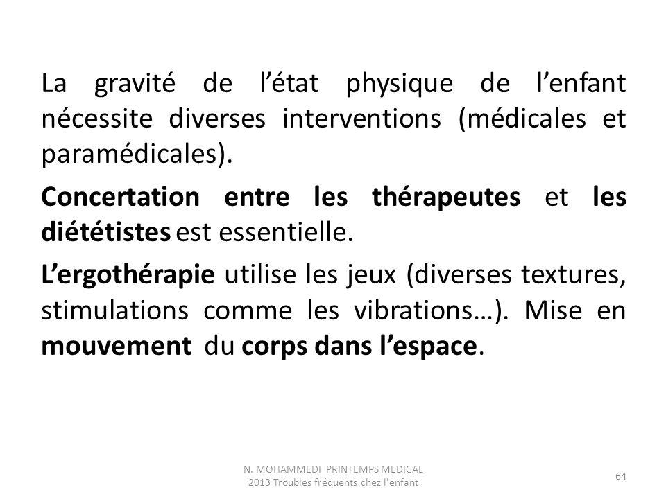 La gravité de l'état physique de l'enfant nécessite diverses interventions (médicales et paramédicales). Concertation entre les thérapeutes et les dié