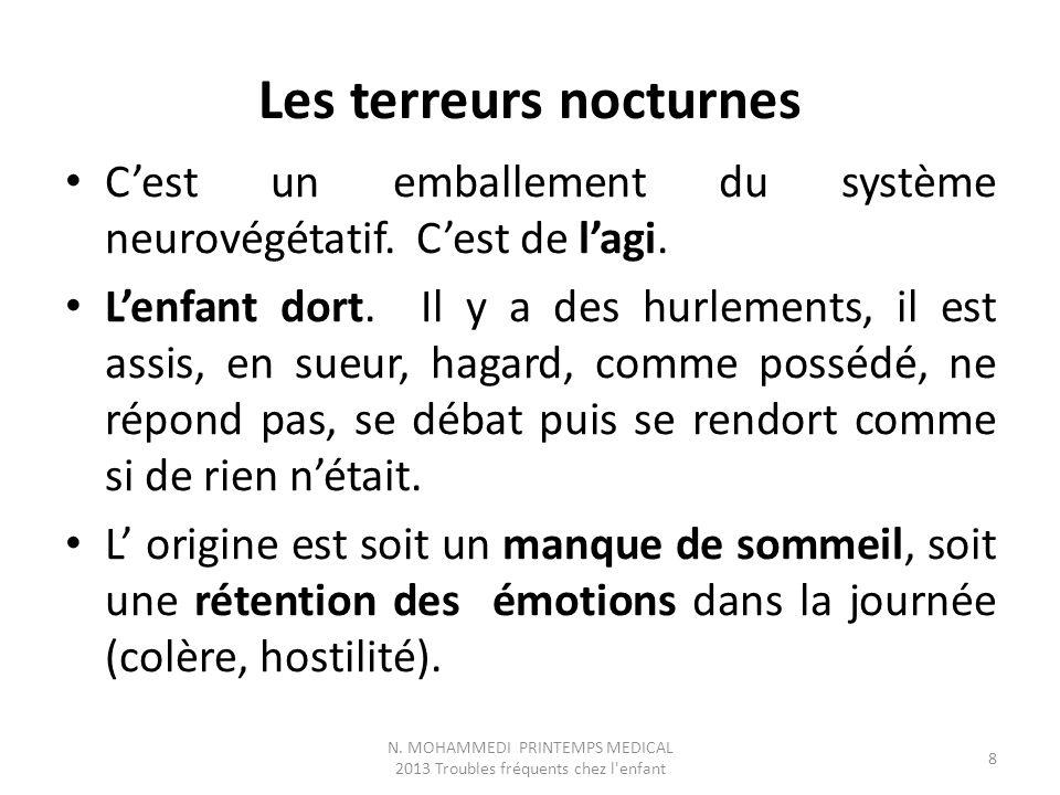 Les terreurs nocturnes C'est un emballement du système neurovégétatif.