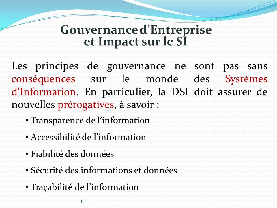 Gouvernance d'Entreprise et Impact sur le SI Les principes de gouvernance ne sont pas sans conséquences sur le monde des Systèmes d'Information. En pa