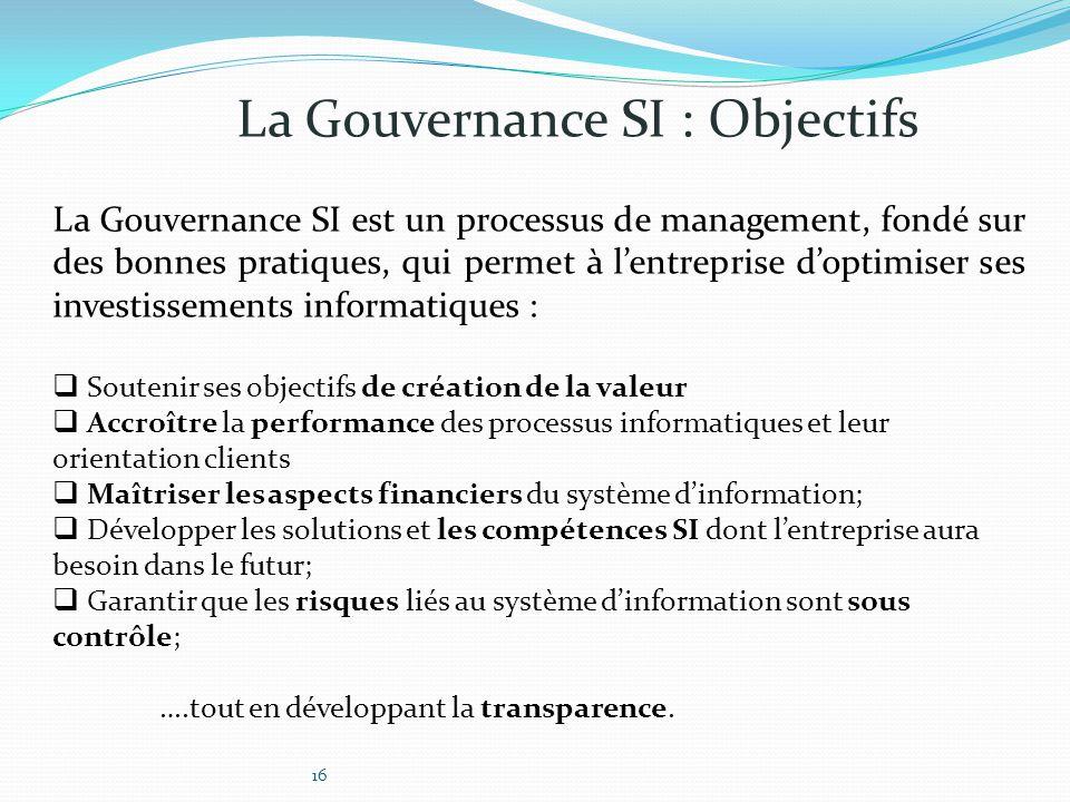 La Gouvernance SI est un processus de management, fondé sur des bonnes pratiques, qui permet à l'entreprise d'optimiser ses investissements informatiq