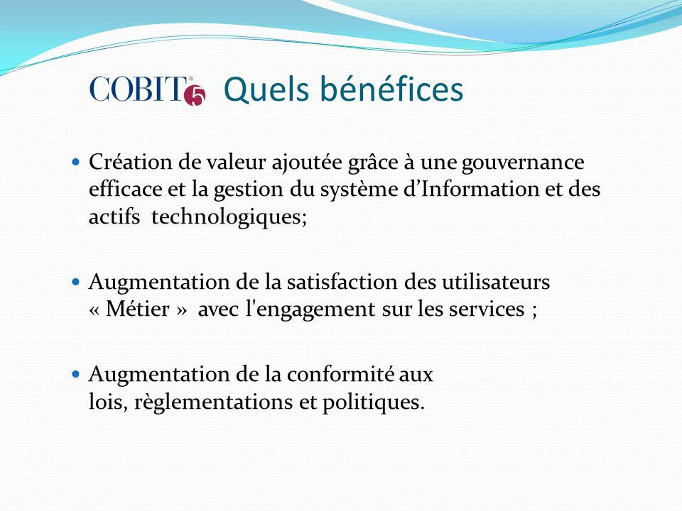 Quels bénéfices Création de valeur ajoutée grâce à une gouvernance efficace et la gestion du système d'Information et des actifs technologiques; Augme