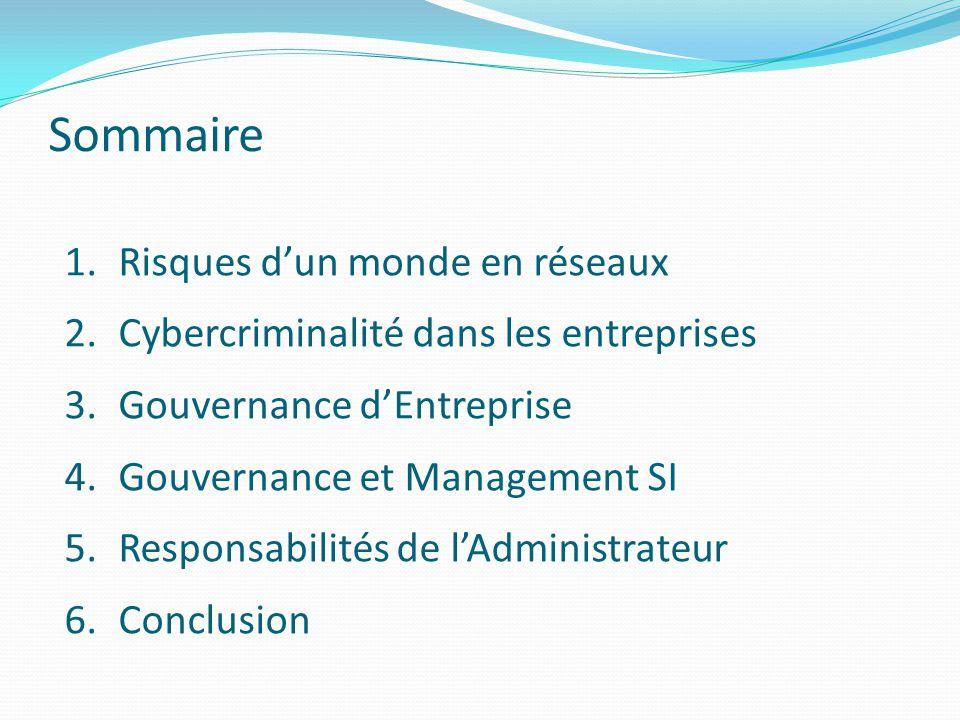 Sommaire 1.Risques d'un monde en réseaux 2.Cybercriminalité dans les entreprises 3.Gouvernance d'Entreprise 4.Gouvernance et Management SI 5.Responsab