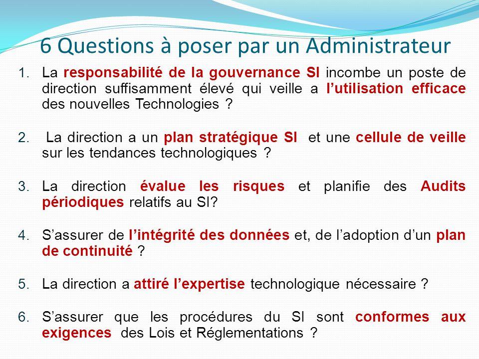 6 Questions à poser par un Administrateur 1. La responsabilité de la gouvernance SI incombe un poste de direction suffisamment élevé qui veille a l'ut