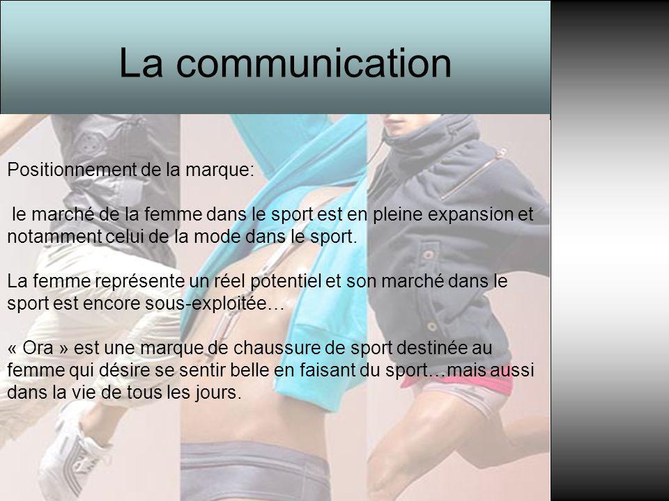 La communication Positionnement de la marque: le marché de la femme dans le sport est en pleine expansion et notamment celui de la mode dans le sport.