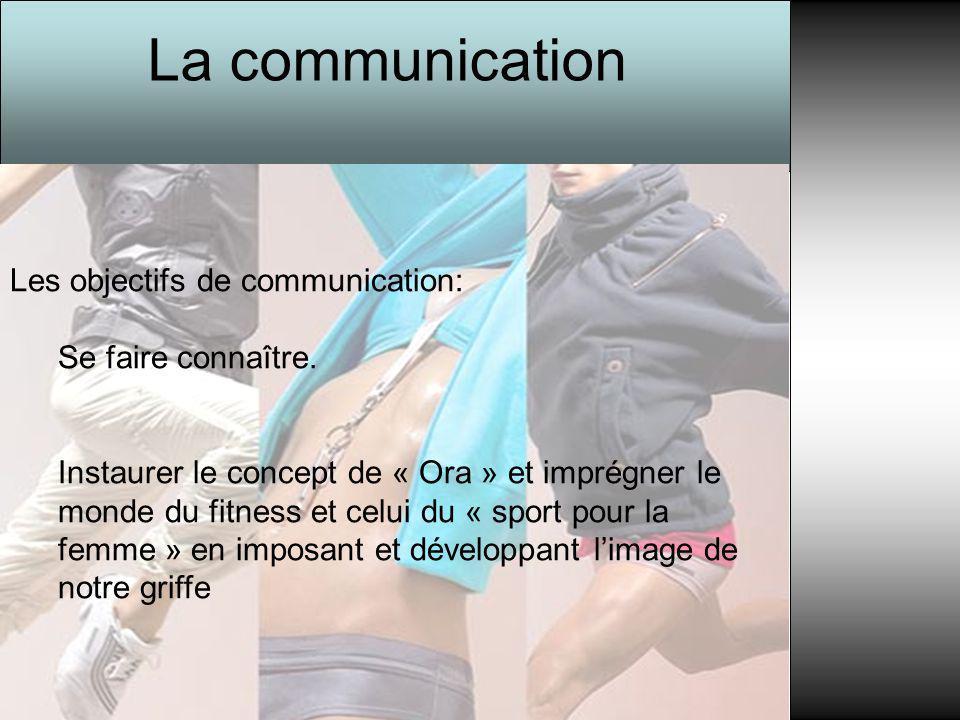 La communication Les objectifs de communication: Se faire connaître. Instaurer le concept de « Ora » et imprégner le monde du fitness et celui du « sp