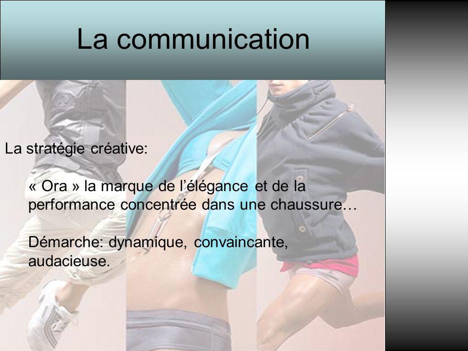 La communication La stratégie créative: « Ora » la marque de l'élégance et de la performance concentrée dans une chaussure… Démarche: dynamique, conva