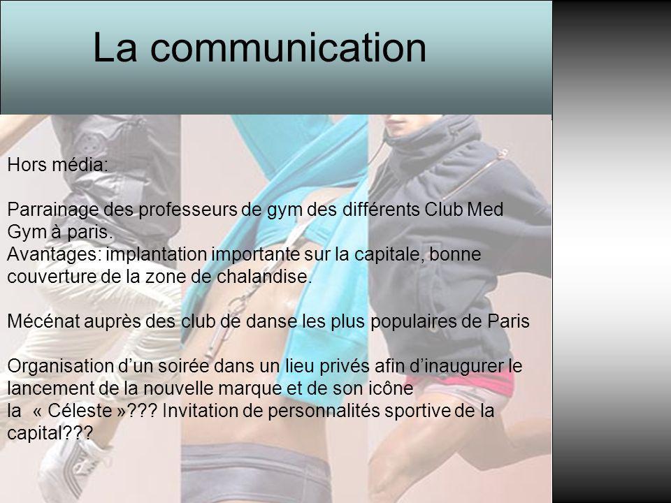 Hors média: Parrainage des professeurs de gym des différents Club Med Gym à paris. Avantages: implantation importante sur la capitale, bonne couvertur