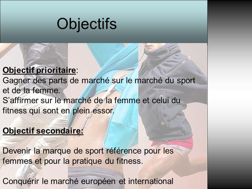 Objectif prioritaire: Gagner des parts de marché sur le marché du sport et de la femme. S'affirmer sur le marché de la femme et celui du fitness qui s