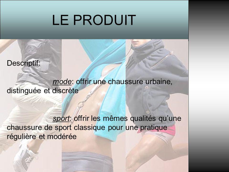 LE PRODUIT Descriptif: mode: offrir une chaussure urbaine, distinguée et discrète sport: offrir les mêmes qualités qu'une chaussure de sport classique