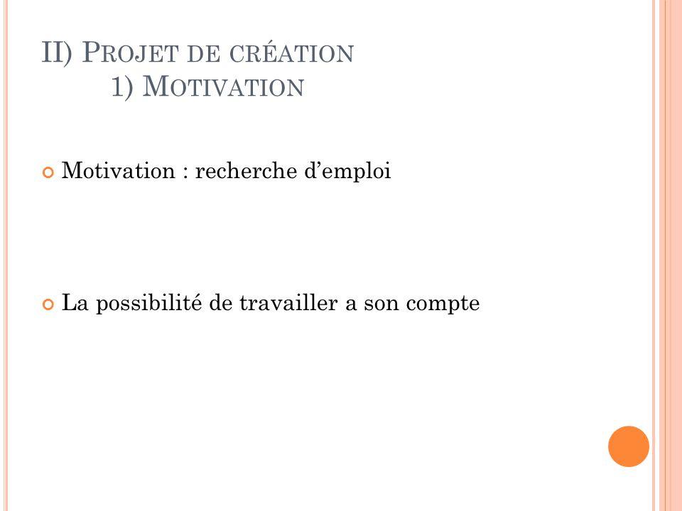 II) P ROJET DE CRÉATION 1) M OTIVATION Motivation : recherche d'emploi La possibilité de travailler a son compte